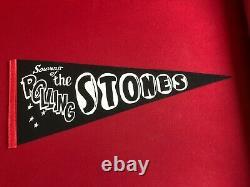 1960's, Rolling Stones, Un-Used (Black) Felt Concert Pennant (Scarce / Vintage)