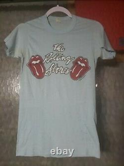 1970s Authentic Original Rolling Stones Light Blue Concert T Shirt Size Medium