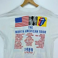 1989 The Rolling Stones North American Tour Brockum Vintage T-Shirt XL Rock Band
