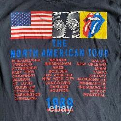 1989 VINTAGE 80s THE ROLLING STONES NORTH AMERICAN TOUR T-SHIRT MEN SZ S BLACK