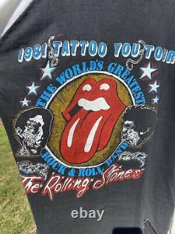 Authentic 1981 Rolling Stones Tattoo You Tour Vintage T Shirt size Small