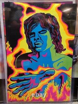 MICK JAGGER ROLLING STONES 1971 VINTAGE BLACKLIGHT NOS POSTER By The Third Eye