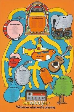 Original Vintage Poster WNEW-FM Radio Jukebox Beatles Rolling Stones Bob Dylan