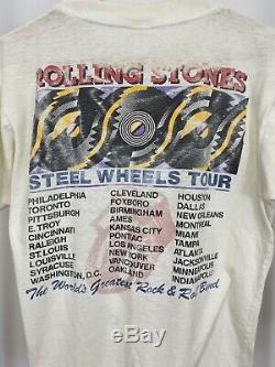 RARE VTG 1989 Rolling Stones Steel Wheels Paper Thin Tour T-Shirt Size L