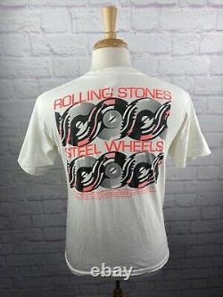 ROLLING STONES North American Tour 1989 White T-Shirt LG Vintage RARE
