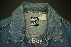 Rare VTG BROCKUM Rolling Stones 1989 Steel Wheels Tour Denim Jacket 80s 90s XL