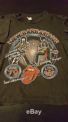 Rare Vintage 70s 1979 New Barbarians Concert Tour T-Shirt Rolling Stones Rock