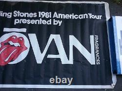 Rolling Stones 1981 Jovan Tour Banner 60 X 36 Vg Impossible Hung At Shows Vtg