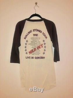 Rolling Stones 1981 Tour TRUE VINTAGE Raglan T-Shirt Size Large