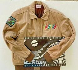 Rolling Stones 1989 Steel Wheels TOUR Suede Leather BOMBER Coat XL SWAT + MANUAL