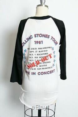 Rolling Stones Concert Tee 1981 Baseball Rock T-Shirt Small 80s