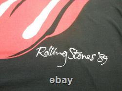 Rolling Stones LARGE 1989 North American Vintage Concert Tour Shirt STEEL WHEELS