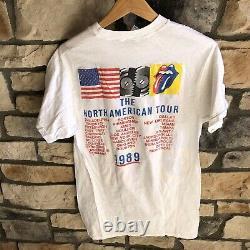 Rolling Stones Vintage Authentic 1989 Steel Wheels Tour Concert T-Shirt XL