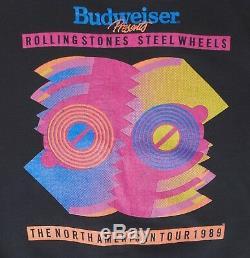 Rolling Stones Vintage Steel Wheels No American 1989 Tour XL Black Sweatshirt