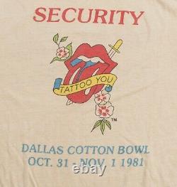 Rolling Stones tshirt Security Concert Tour Tee Vintage Original Medium M shirt