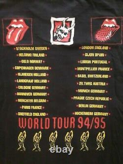 THE ROLLING STONES Vintage Voodoo Lounge EU Tour T Shirt XL +TICKET! 1995 Jagger
