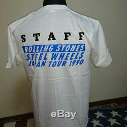 The Rolling Stones 1990 JAPAN Tour STAFF T-shirt (SizeL) NEW Vintage Rare