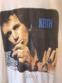 True VTG Original Keith Richards 1988 Concert Tour Shirt Rolling Stones Band L