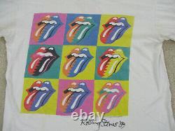 VINTAGE Rolling Stones Shirt Adult Large White 1989 Tour Concert Rock Mens 80s