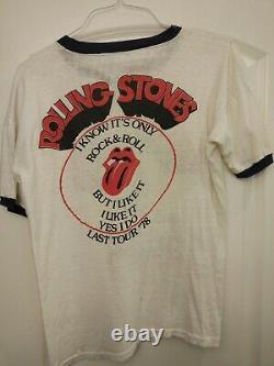 VTG 1978 Rolling Stones Some Girls'Last Tour' T Shirt XL Ringer single stitch