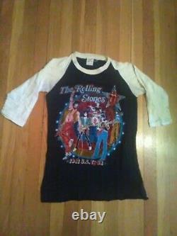 VTG 1981 Rolling Stones Tattoo You US AmericanTour Raglan 3/4 sleeve Shirt MED