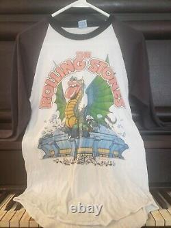 VTG Orig. Rolling Stones 1981 Tour Dragon Stadium 3/4 Raglan T-Shirt The Knits L