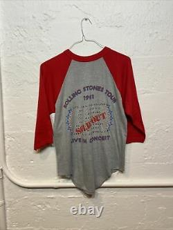 VTG Rolling Stones 1981 World Tour concert tee shirt size M Sold Out Red Sleeve