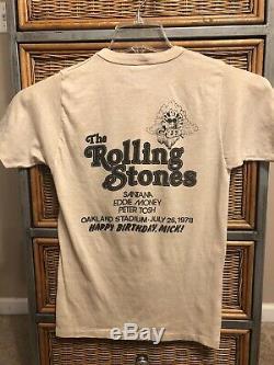 Vintage 1978 Rolling Stones Mick Jagger Happy Birthday Concert Shirt Medium VTG
