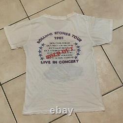 Vintage 1981 Rolling Stones T Shirt Dragon Medium Large Rock Concert Tour Tee