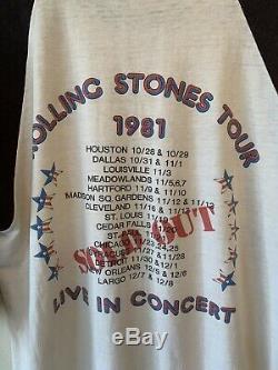 Vintage 1981 Rolling Stones T Shirt Dragon Mens Size XL Rock Concert