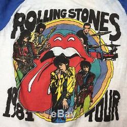 Vintage 1981 Rolling Stones Tattoo You Tour Concert Raglan T-Shirt Large