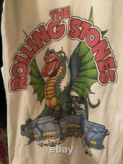 Vintage 1981 Rolling Stones Tour 3/4 Sleeve Baseball Shirt 80s Band Tee LARGE