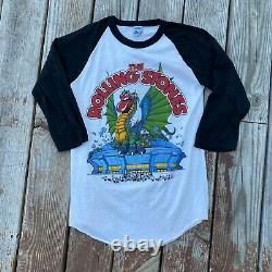 Vintage 1981 Rolling Stones Tour Baseball Tee Raglan Shirt Large 80s Rock Band