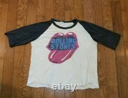 Vintage 1981 The Rolling Stones Thin Raglan Shirt Size Large BEIGE/GRAY