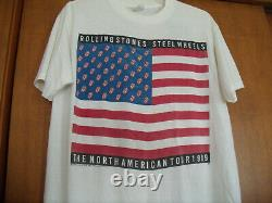 Vintage 1989 Rolling Stones Steel Wheels North American Tour T-shirt Rare Size L