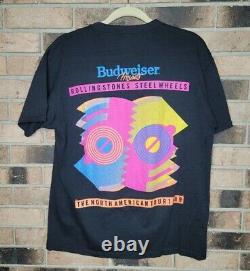Vintage 1989 The Rolling Stones Steel Wheels Black Concert Tour Tee Tshirt Large