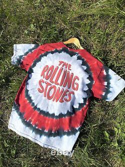 Vintage 2002 Rolling Stones Tie dye Band Tee Liquid Blue Pink Floyd Metallica