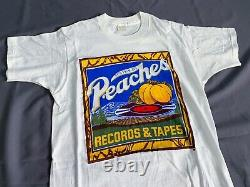 Vintage 70s Peaches Records tapes kiss rolling stones nirvana t shirt 80s 90s