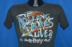 Vintage 70s ROLLING STONES LIVE IN 78 GREATEST ROCK N ROLL BAND t-shirt SMALL S