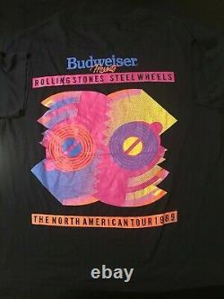 Vintage 80s 1989 Rolling Stones Steel Wheels Concert Tour T-Shirt Rock Jagger