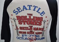 Vintage 80s Rolling Stones 1981 Seattle Space Needle Rock Tour T Shirt M Rare