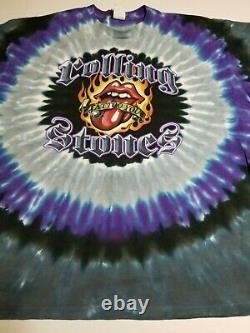 Vintage 90s All Over Print Rolling Stones Liquid Blue Tie Dye T-Shirt Size 2XL