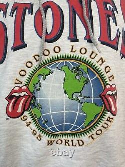 Vintage 90s Rolling Stones Voodoo Lounge World Tour Hoodie Size XL Brockum USA