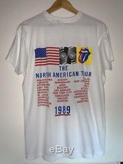 Vintage Authentic Rolling Stones 1989 Steel Wheels Tour Concert T Shirt Sz XL