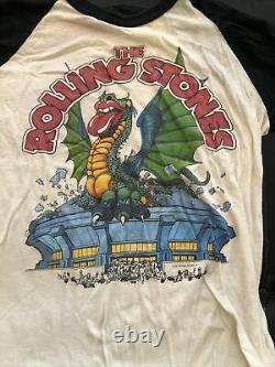 Vintage Original 1981 Rolling Stones Tour Raglan Baseball Shirt Large 80s Band