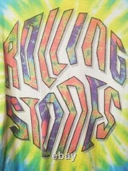 Vintage Rare Liquid Blue The Rolling Stones Colorful Tie Dye T-Shirt XL 1994 USA
