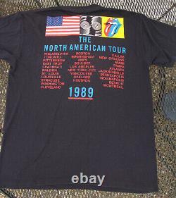 Vintage Rolling Stones 1989 North American Tour Concert T Shirt XL 80's Rock Lip