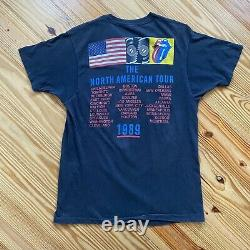 Vintage Rolling Stones 1989 The North American Tour T-shirt Tag Size XL #843