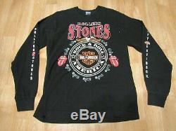 Vintage Rolling Stones Harley Davidson Long Sleeve Shirt Voodoo Lounge 90s 1990s