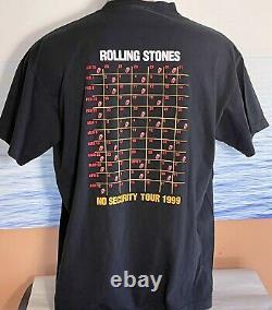 Vintage Rolling Stones No Security 90s Tour T-Shirt Tee Mens Size XL Black